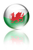 Wales button ball with welsh flag isolated on white