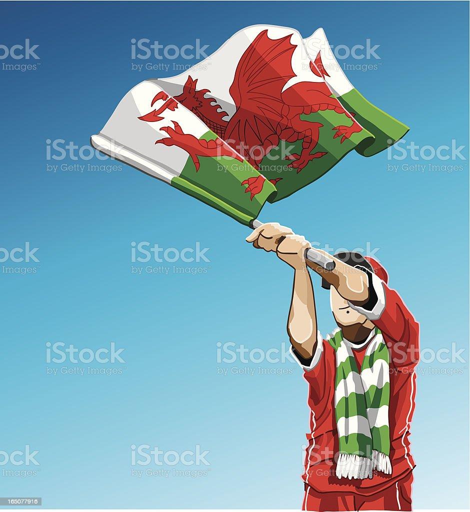 Wales Waving Flag Soccer Fan royalty-free stock vector art
