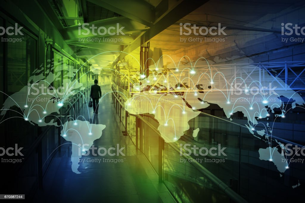 walking business person back view and worldwide network, abstract image visual vector art illustration