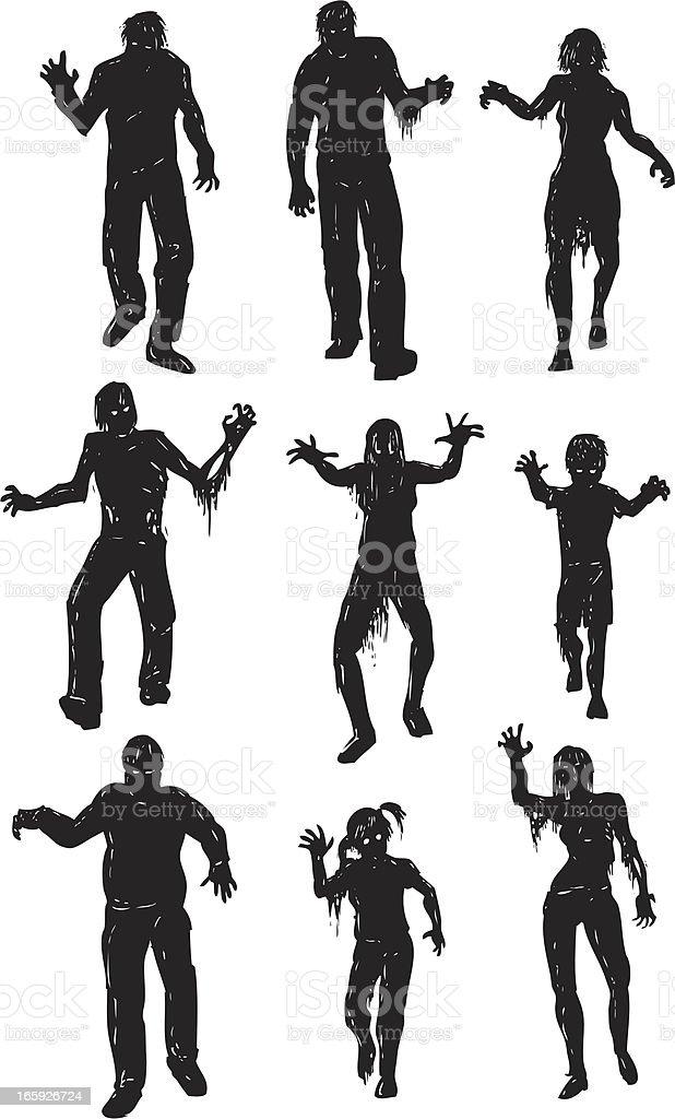 walking dead silhouette zombies vector art illustration
