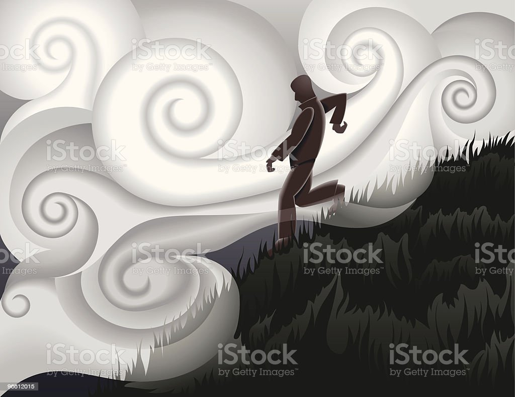 Walking down hill - Royalty-free Adult stock vector