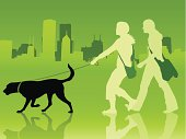 Two girls walk a dog in the city.