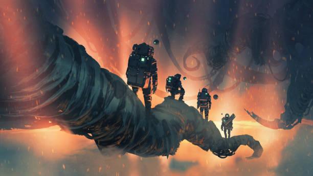 walking on giant trees in the alien planet vector art illustration