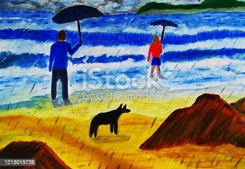 istock Walking the dog on a sandy beach 1213015726