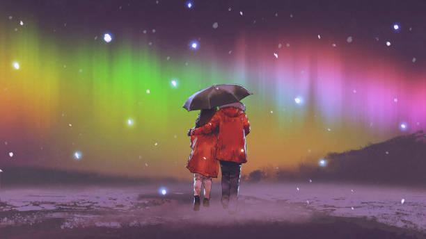 walking together under the Northern light vector art illustration