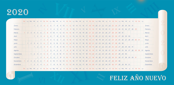 2020 wall calendar in spanish. Happy New Year text in spanish. Calendario español. 12 months line by line. Sunday and Satadays is highlighted red. Vector editable template for poster, print, web