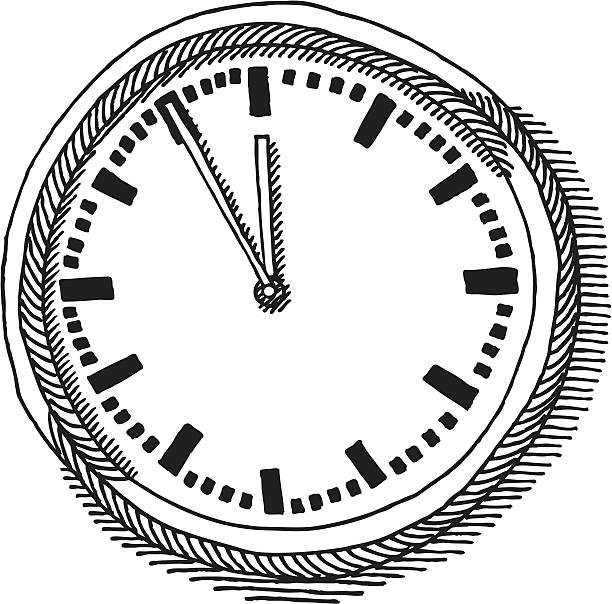 Wall Clock Drawing Hand-drawn vector drawing of a Wall Clock. Black-and-White sketch on a transparent background (.eps-file). Included files: EPS (v8) and Hi-Res JPG. wall clock stock illustrations