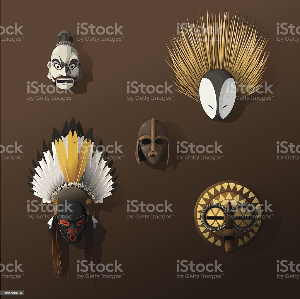 Wall of ancient masks vector art illustration