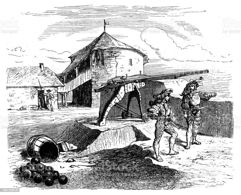 Wall-Gun 16th century vector art illustration