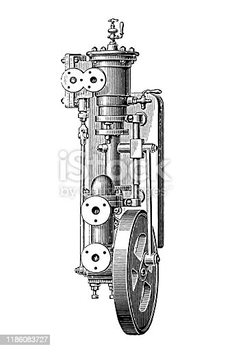 Illustration of a Wall-mounted, steam-powered pump