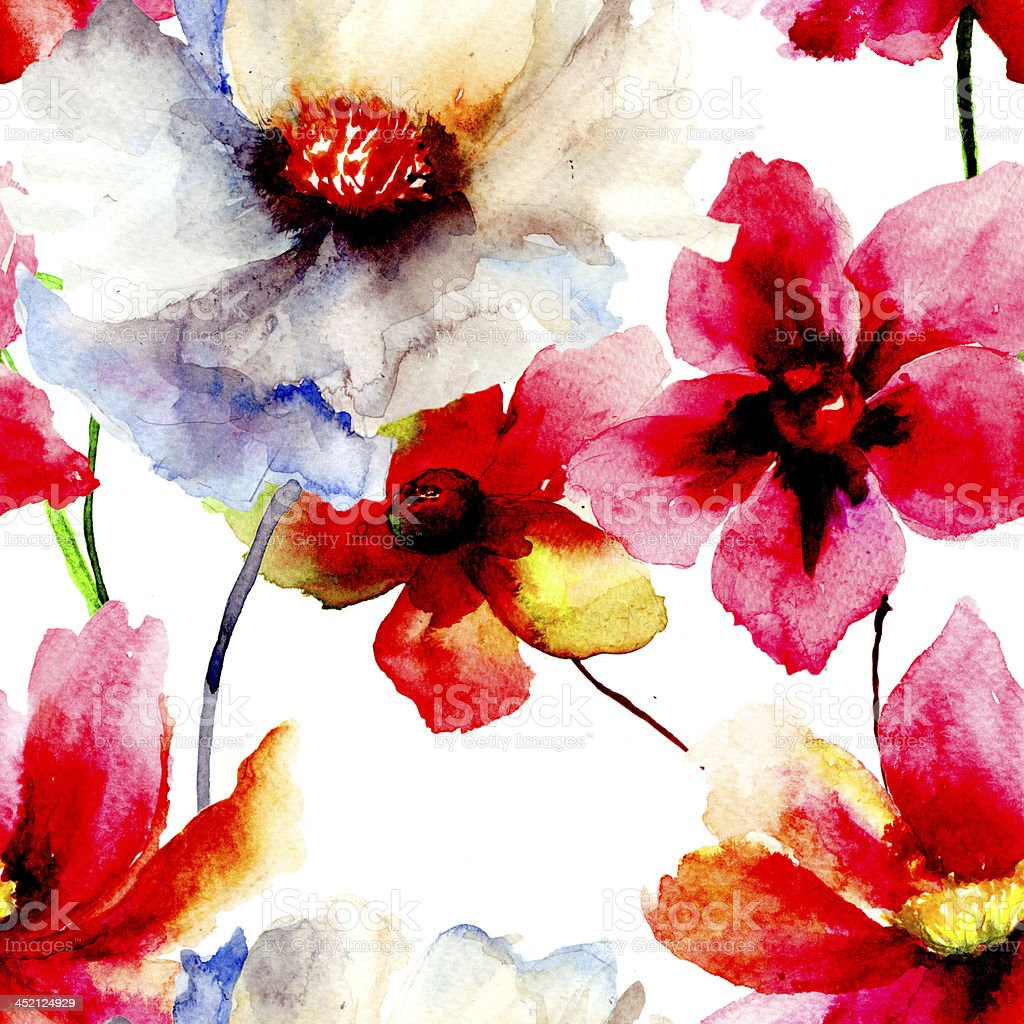 Wallpaper With Beautiful Red And White Summer Flowers Stock Vector