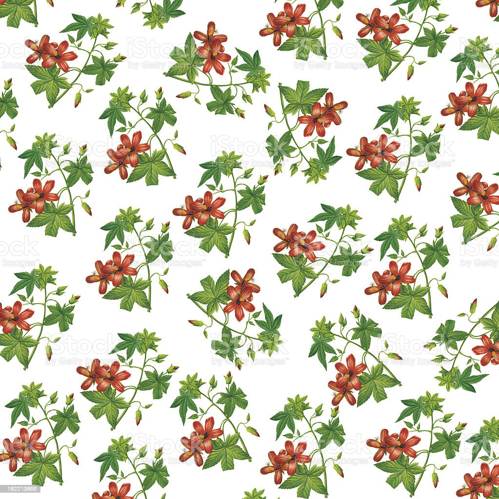 Wallpaper with Red Flowers | Antique Flower Illustrations royalty-free stock vector art