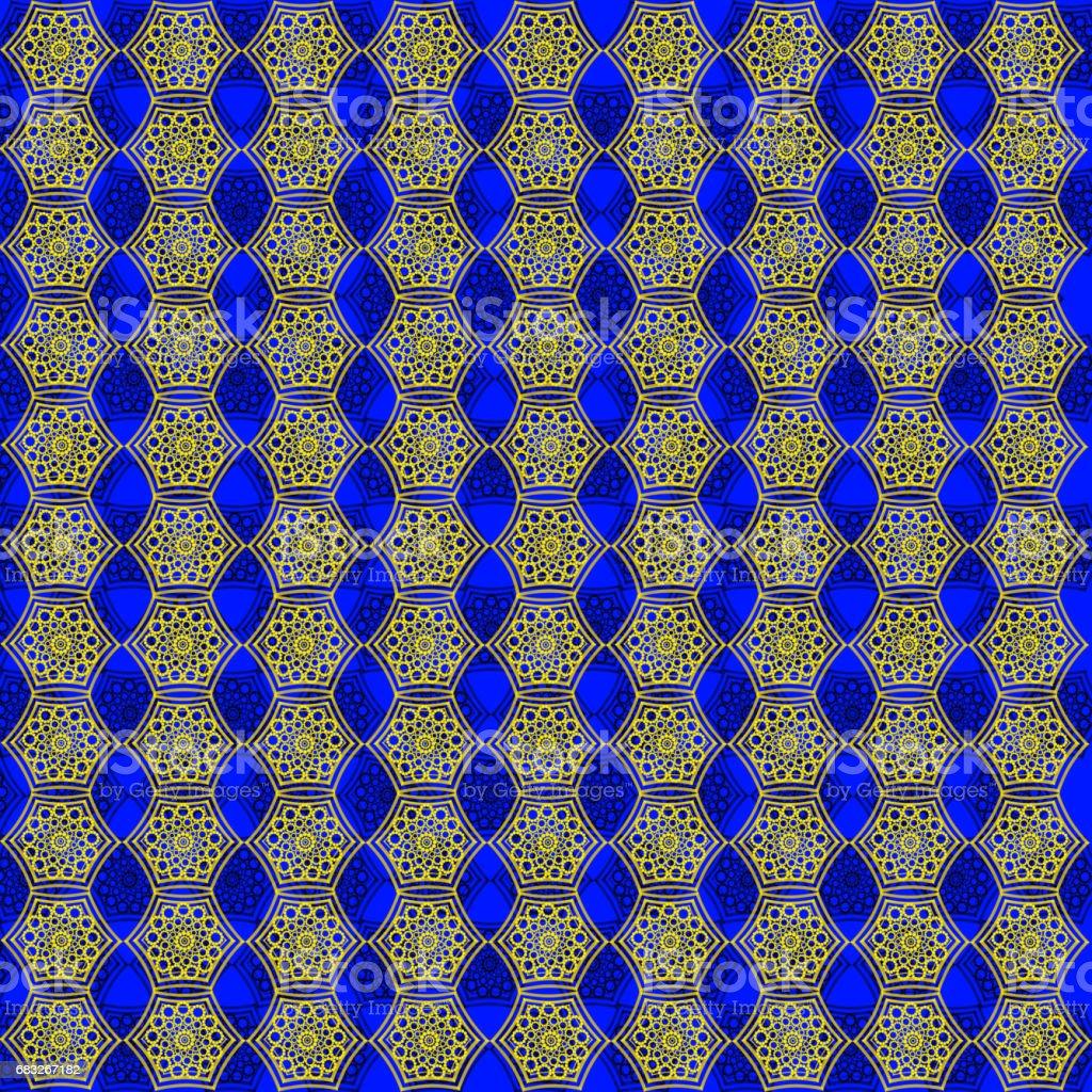 在藍色背景上的許多金色圖案壁紙 免版稅 在藍色背景上的許多金色圖案壁紙 向量插圖及更多 具有特定質地 圖片