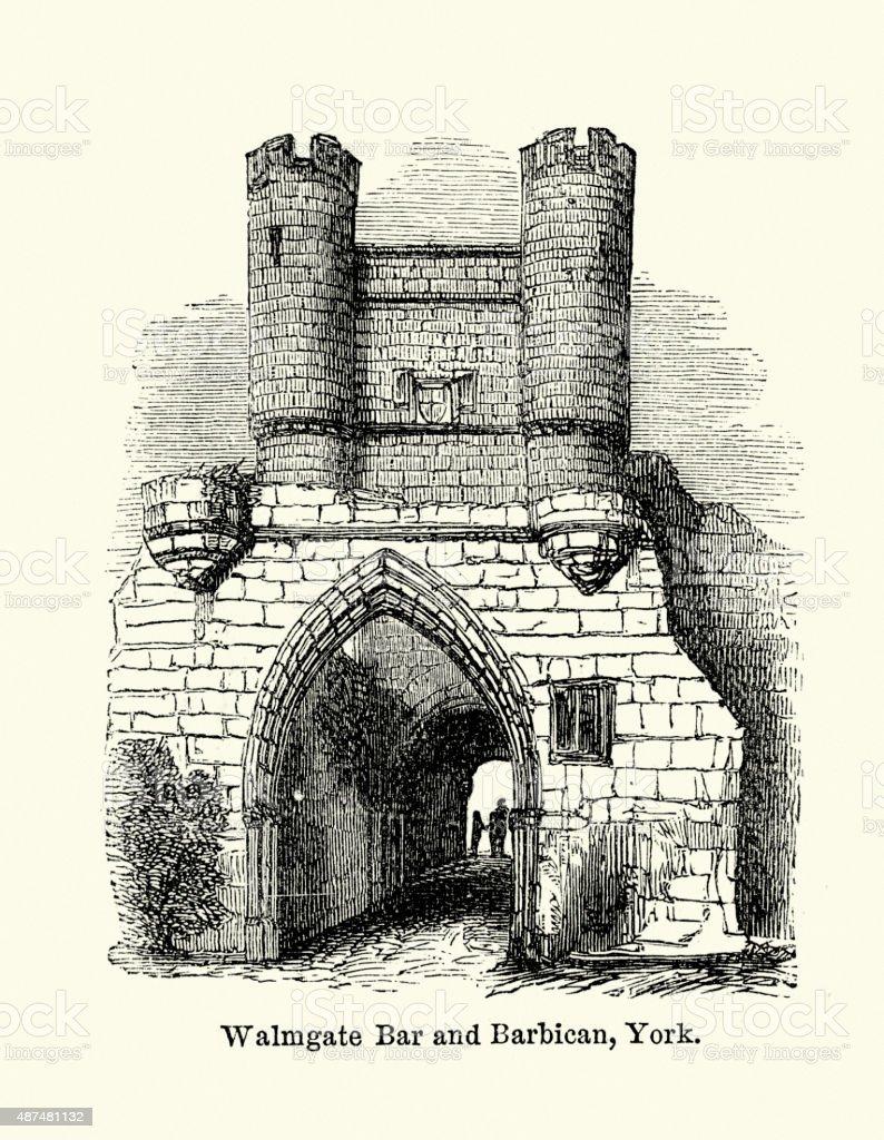 Walmgate Bar and Barbican, York vector art illustration