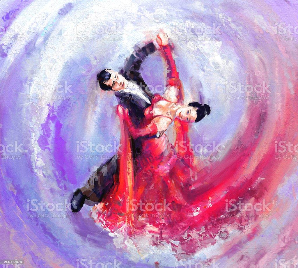 waltz dancers vector art illustration