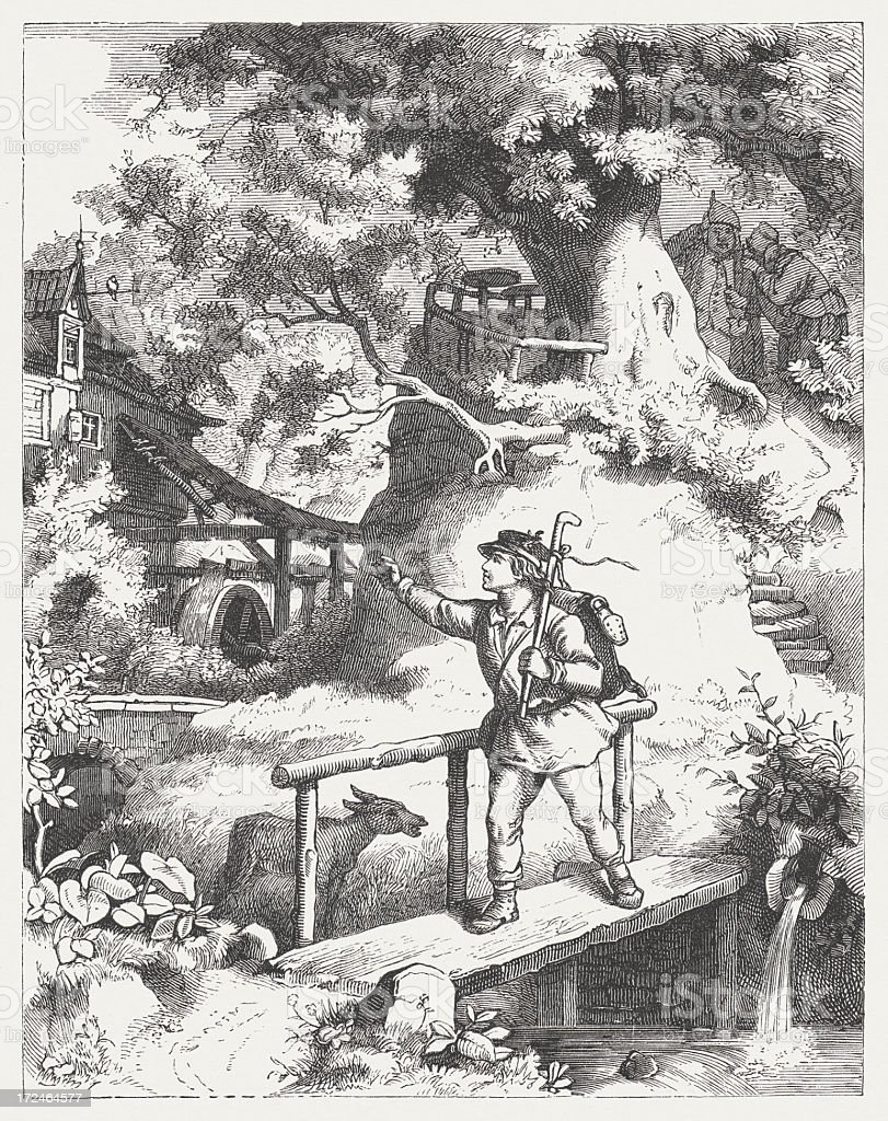 Wanderer in the past, wood engraving, published in 1871 vector art illustration