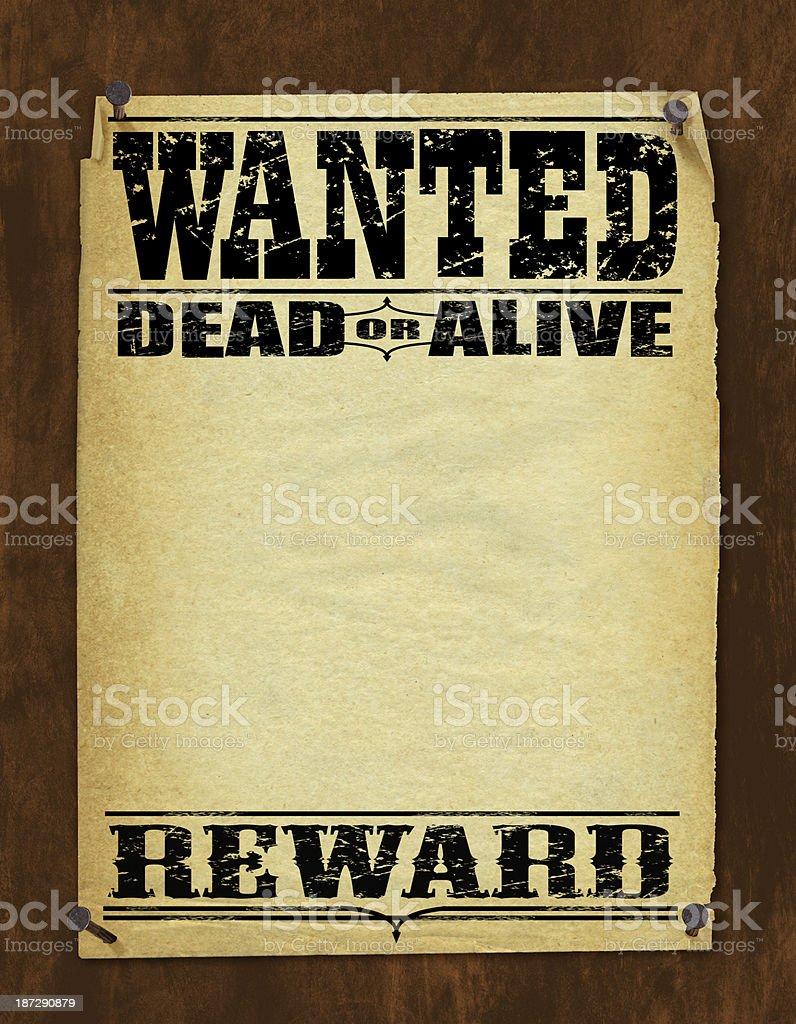 Wanted Poster - Dead or Alive, Reward vector art illustration