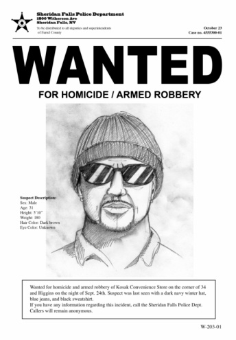Wanted poster with drawing of a man with hat and sunglasses