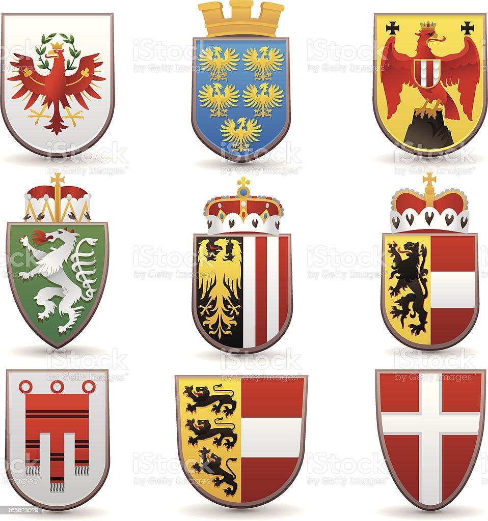 Wappen der Bundeslaender von Oesterreich  Wien, Tirol, Niederoesterreich,  Salzburg, Oberoesterreich vector art illustration