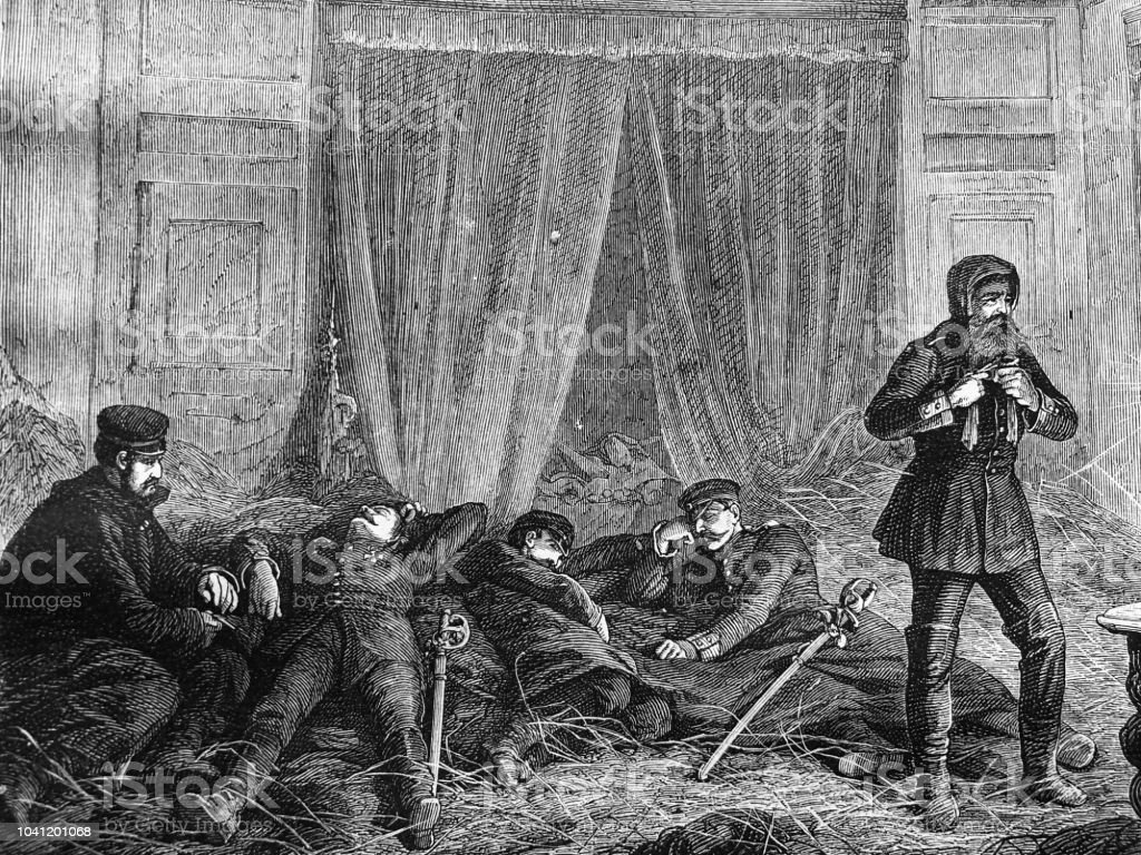 War between Germany and France: Officers hay bed in a castle vector art illustration