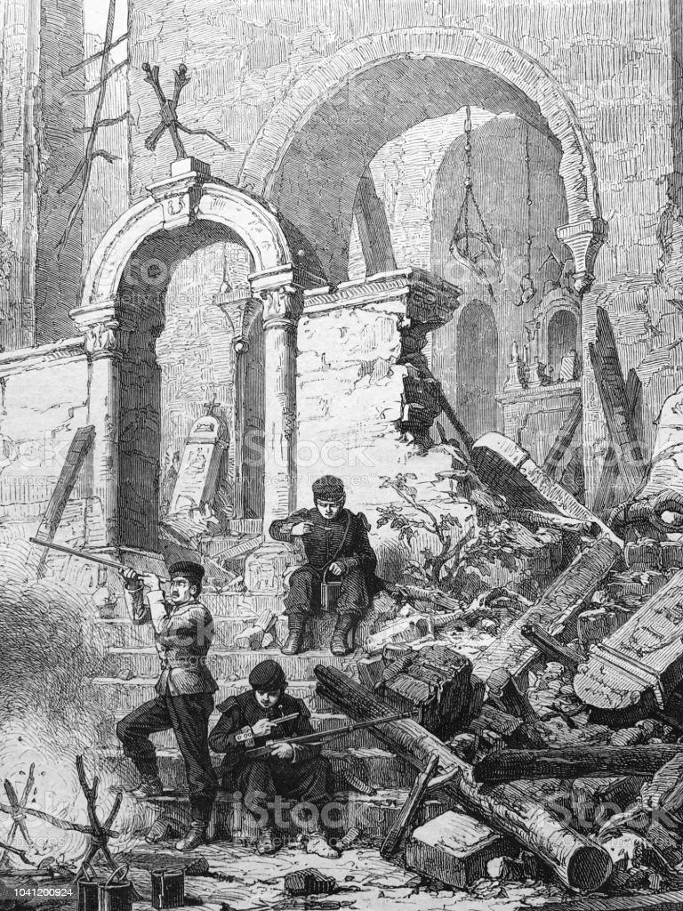 War between Germany and France: Rest of german soldiers at a church vector art illustration