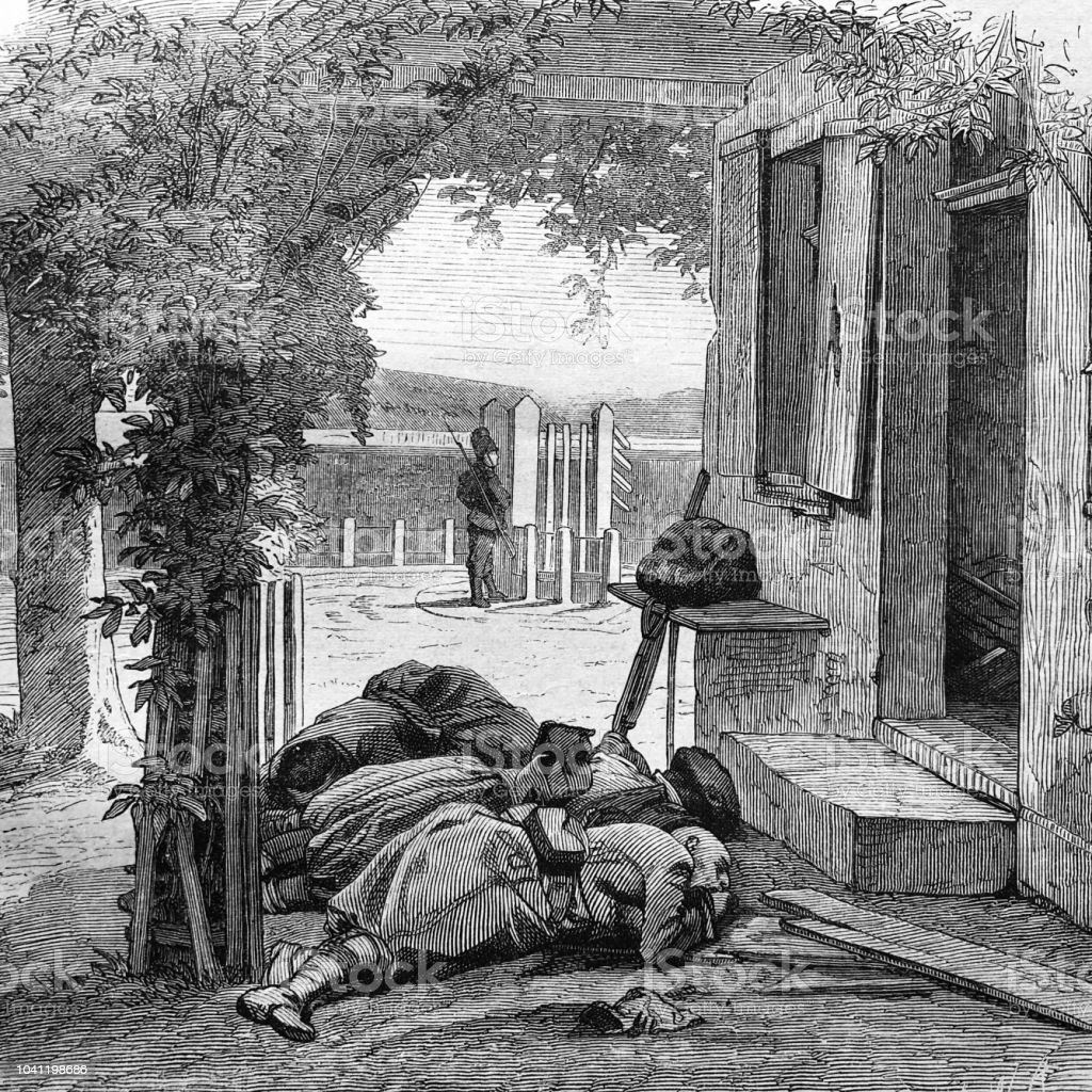 War between Germany and France: sleeping german soldiers in a garden vector art illustration