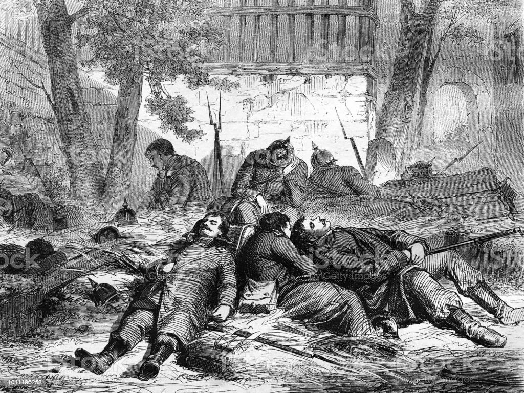 War between Germany and France: soldiers sleeping in hay vector art illustration