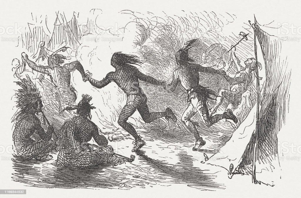 アメリカ先住民の戦争舞踊木彫り1876年出版 - 19世紀のベクターアート ...