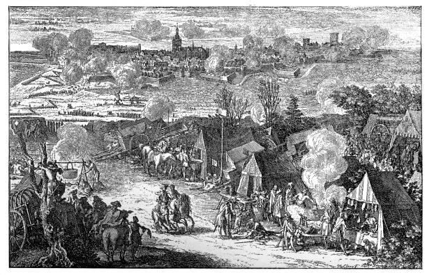 stockillustraties, clipart, cartoons en iconen met oorlog van th spaanse successieoorlog 1700-1714 nederland belegering van nijmegen 1702 - den haag