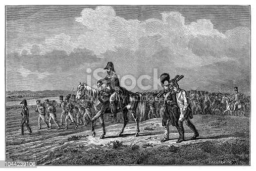 istock War of the Sixth Coalition 1812 - 1814, Russian campaign 1812, Italian soldiers of the 15th Division (General Pino) marching ,Napoleonic Wars, Russia, Italians, army, IV Corps (Prince Eugene de Beauharnais), 19th century, infantry 1044239106