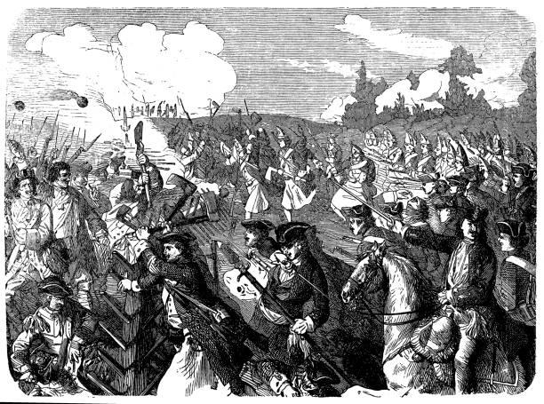 stockillustraties, clipart, cartoons en iconen met tijdens de spaanse successieoorlog 1701-1714, slag bij turijn, 7.9.1706, last van de pruisen - den haag
