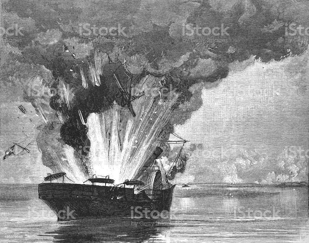 War Steamship Exploding vector art illustration