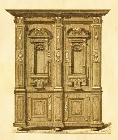 Wardrobe from XVII century   Antique Historic Illustrations