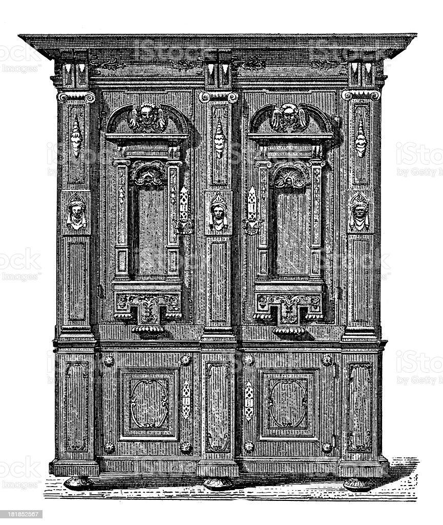 Wardrobe from XVII century (antique wood engraving) royalty-free stock vector art