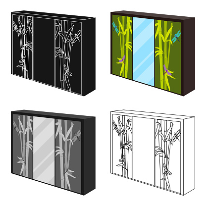 Wardrobe with mirror and green doors. the place for clothes.Bedroom furniture single icon in cartoon style vector symbol stock illustration web