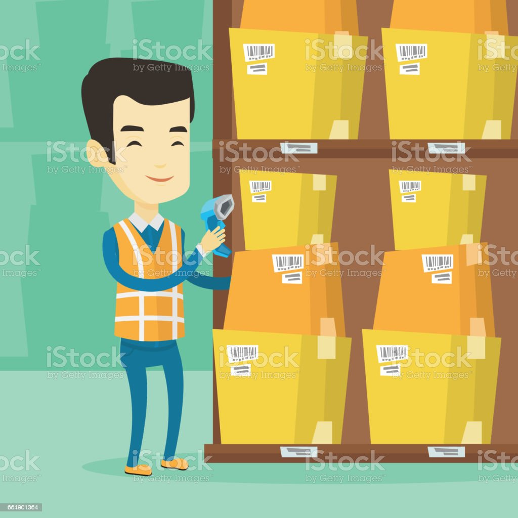 Warehouse worker scanning barcode on box warehouse worker scanning barcode on box - immagini vettoriali stock e altre immagini di canada royalty-free