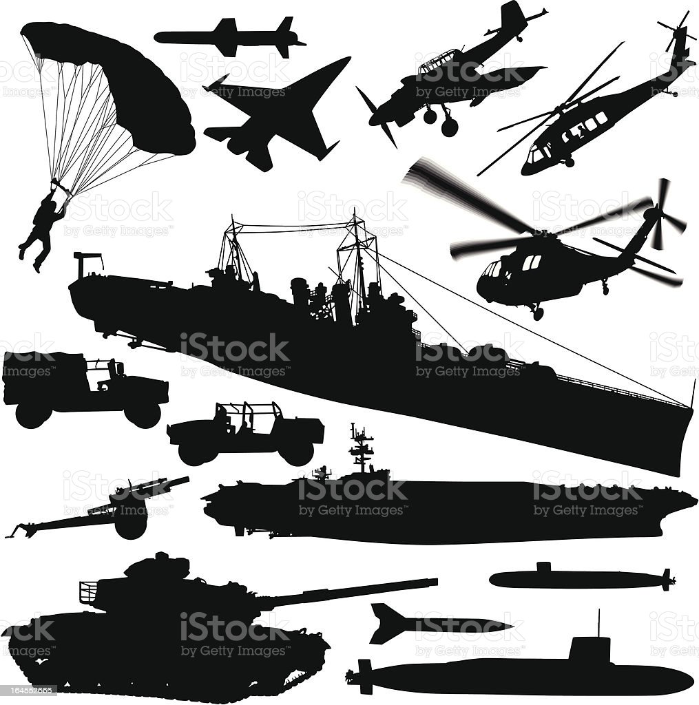 Warfare Silhouette Elements royalty-free warfare silhouette elements stock vector art & more images of air force