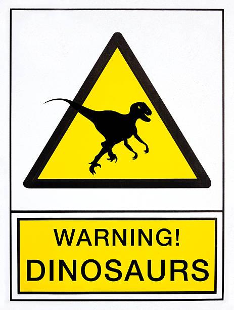 Señal de advertencia de dinosaurios - ilustración de arte vectorial