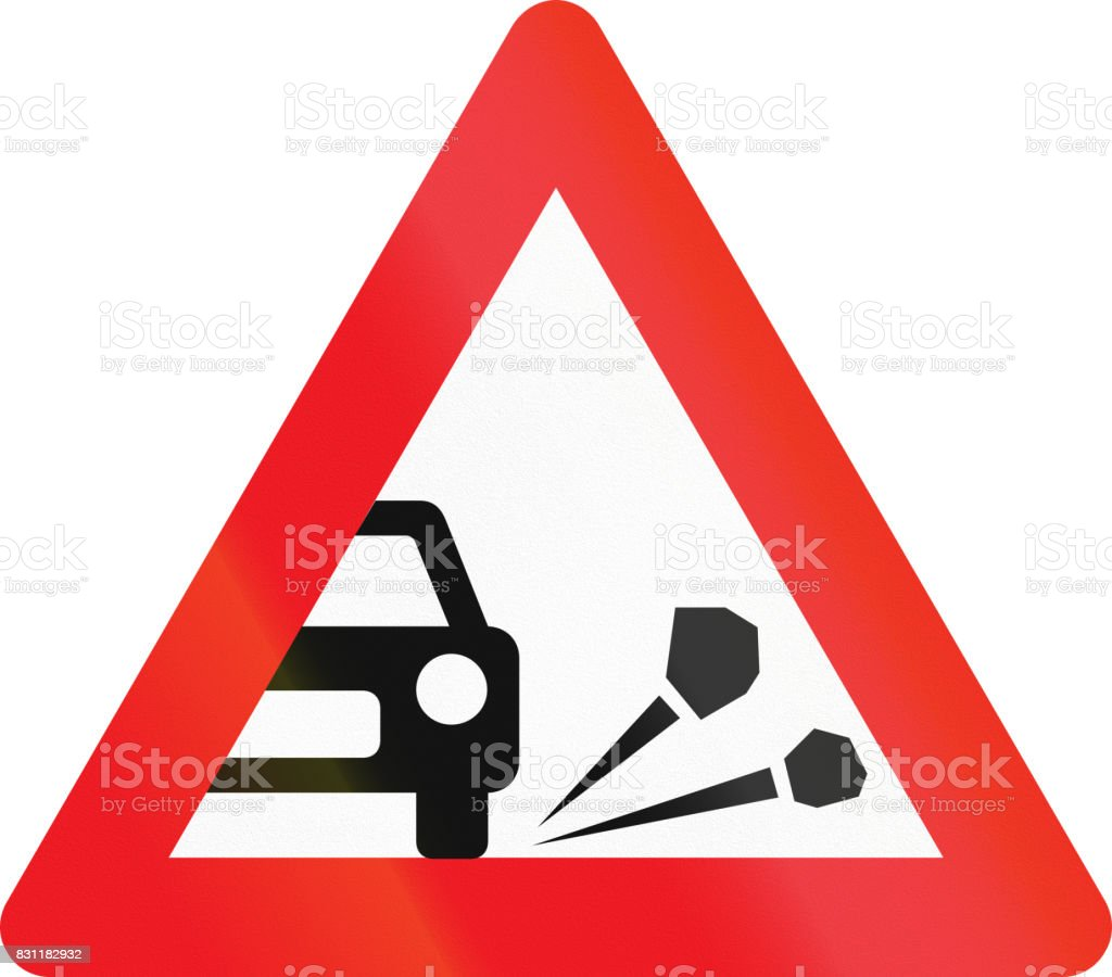 Warning road sign used in Denmark - Loose chippings vector art illustration