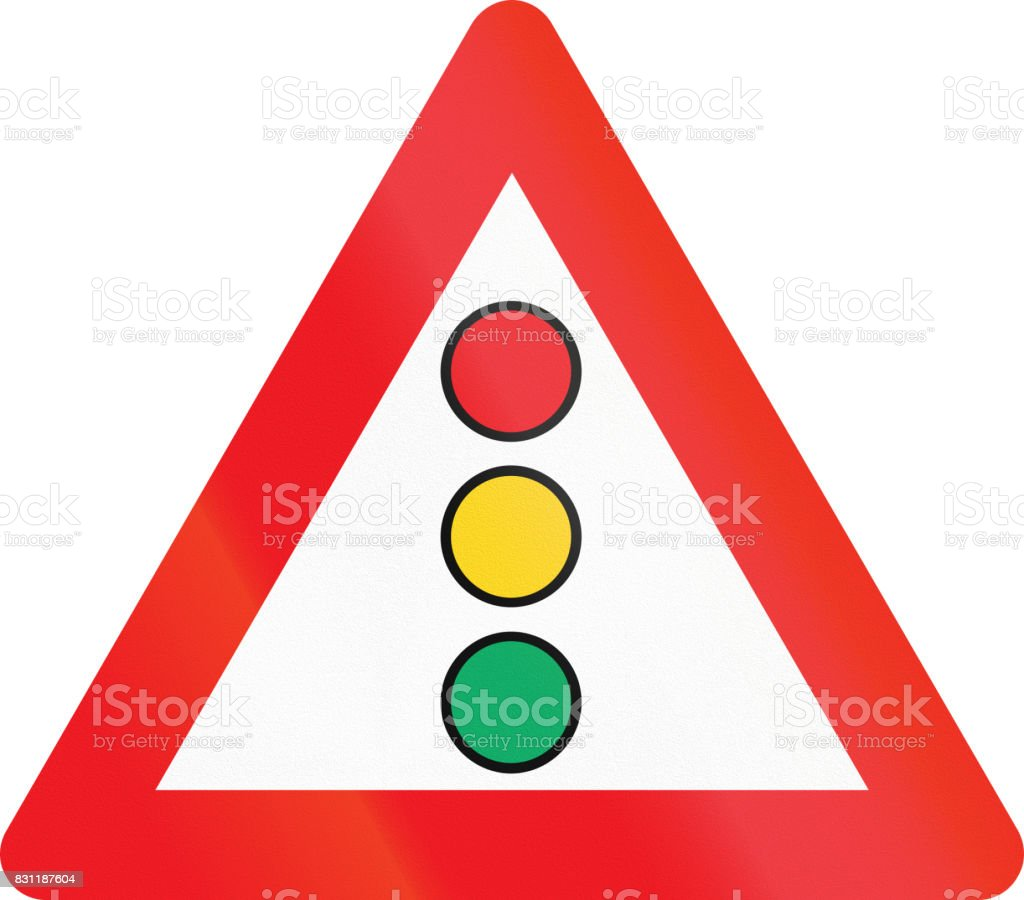 Warning road sign used in Denmark - traffic signals vector art illustration