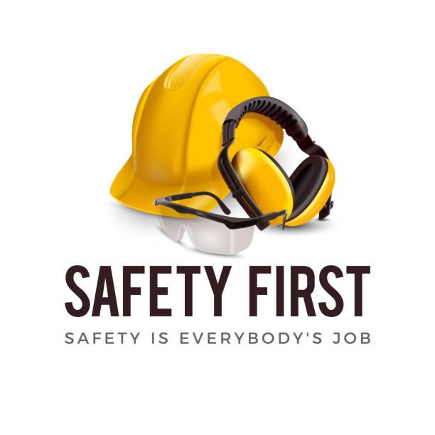 Warning sign - Safety first concept. – artystyczna grafika wektorowa