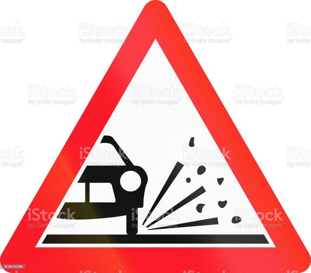 Warning sign used in Switzerland - loose chippings vector art illustration