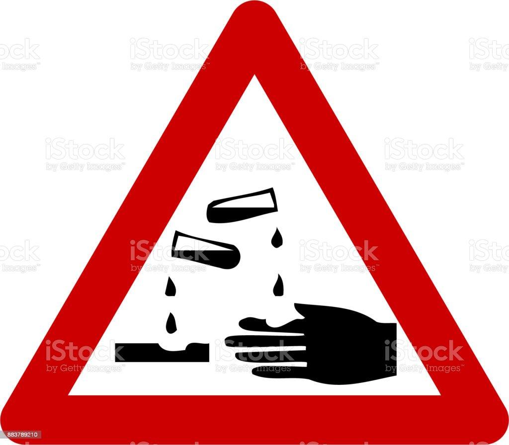Warning sign with corrosive substances symbol vector art illustration
