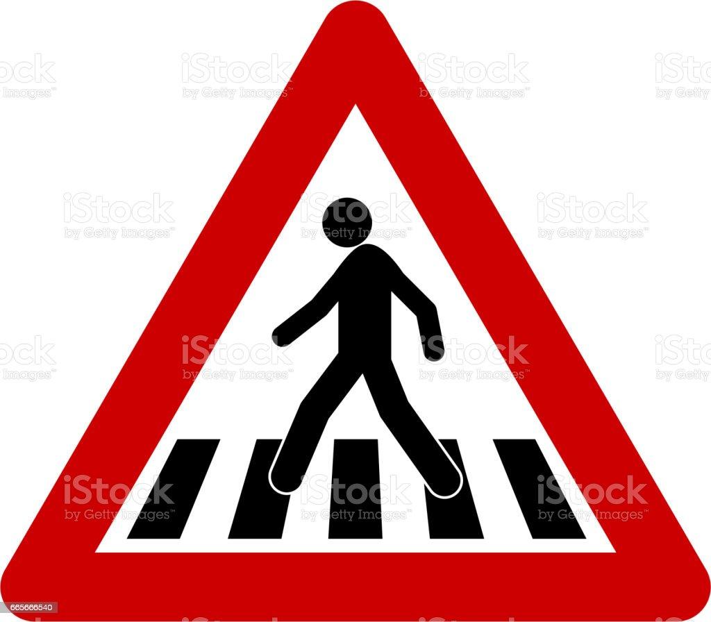 Warning sign with crosswalk vector art illustration