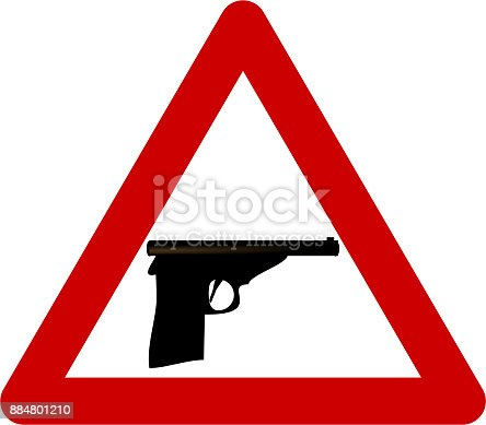Warning Sign With Gun Symbol Stock Vector Art More Images Of