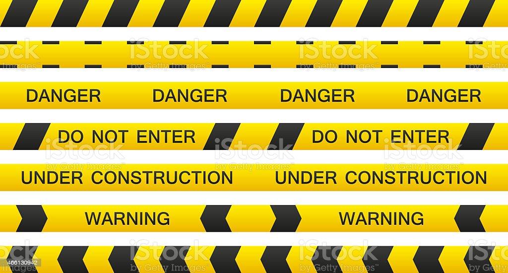Warning tape set vector art illustration