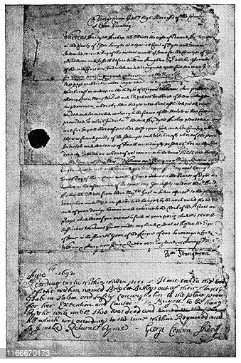 The warrant for the arrest and hanging of Bridget Bishop in the Salem Witch Trials. Vintage etching circa late 19th century.