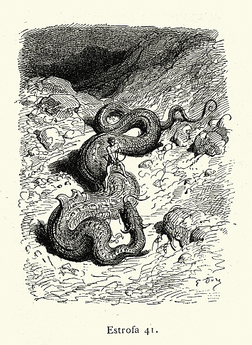 Warrior fighting with giant serpent dragon, Fantasy, Mythology