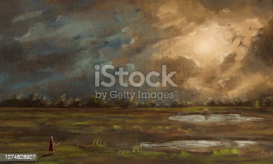 istock Warrior, knight with sword standing in landscape with pond, trees and dramatic sunset sky. Fantasy digital hand background painting 1274828927