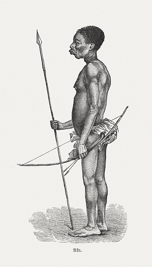 Warrior of the Aka people, Congo, wood engraving, published 1893